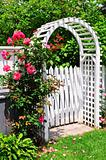 White arbor in a garden