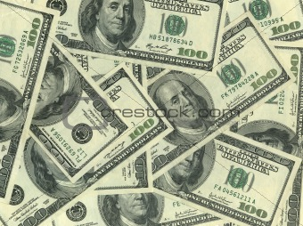 Background of hundred dollar bills