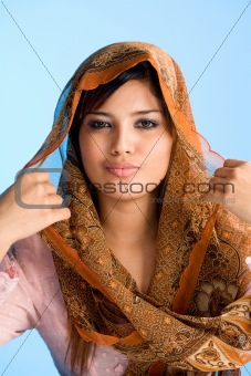Muslim young woman in head scarf