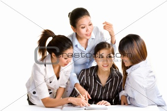 group of asian multiracial business women discussing work