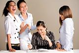 group of multiracial asian business woman laughing