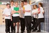 Teenage boys clustered around a girl at school