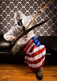 American flag & Freak in the mask