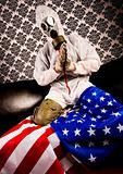 Gas Mask & American flag