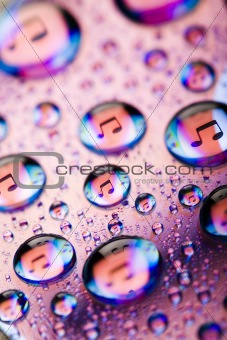 Background made from water drops, disc