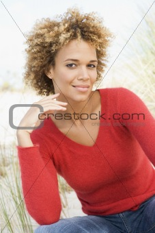 Portrait of young woman in dunes