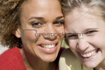 Close up of two female friends