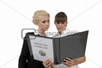 businessladies with financial report