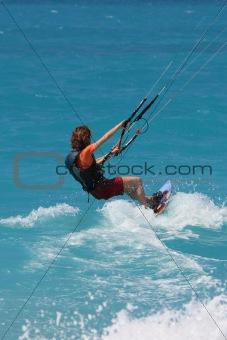 kite boarder  on  Lefkas Island