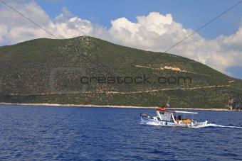 Fishing boat on the Ionian island of Lefkas Greece