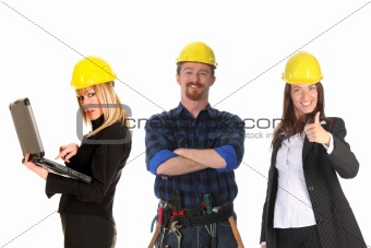 two businesswoman and construction worker