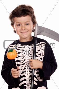 Beautiful boy dressed of skeleton