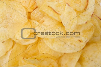A pile of potato chips