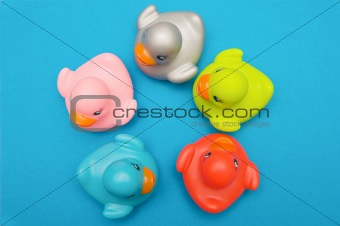 Five ducks plastic multi-colored