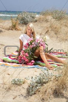 beautiful girl holding flowers