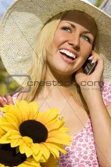Cell Phone and Sunflowers