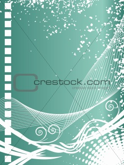 green abstract background with grunge and waves, illustration
