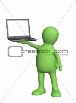 3d puppet with laptop in hand