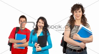 Three students with books and backp