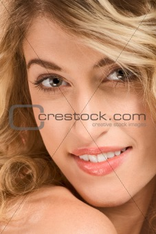 Portrait of beautiful blonde wearing natural make up