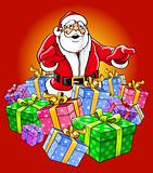 Santa Claus magic Christmas vector illustration