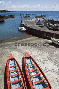 Small harbour of Ribeiras in Pico island, Azores