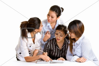 group of multiracial businesswomen having disscussion