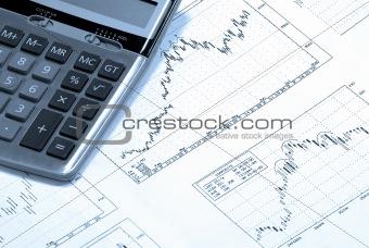 Calculator and finance charts.