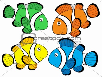 Various color clownfishes 1