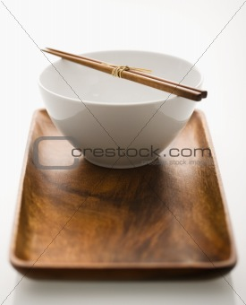 Asian bowl on tray.
