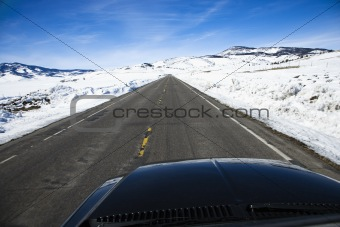 Car on road in winter.