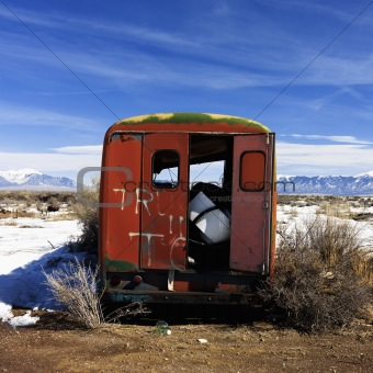 Abandoned truck in snowy rural Colorado.