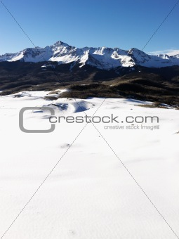 Snowy Colorado mountain landscape.