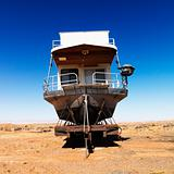 Houseboat in Arizona desert.