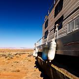 Houseboat in Arizona desert.