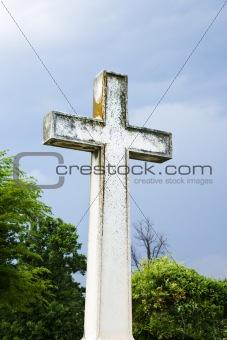 Cross in graveyard.