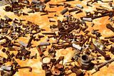 Old rusty screws and parts.