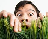 Surprised man behind grass.