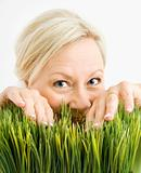 Mischievious woman in grass