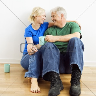 Couple enjoying coffee.