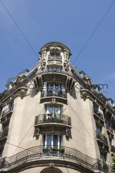 Apartment building facade, Paris, France