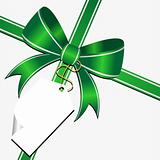 Green bow with tag