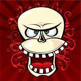 Smiling comic skull