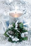 Beautiful Christmas candle in white tone