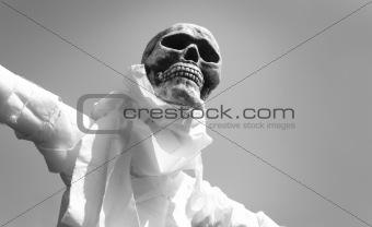 B&W scarecrow skeleton