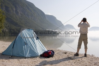 Camping at a mountain lake