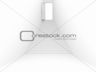 3d room with door and ladder of white color
