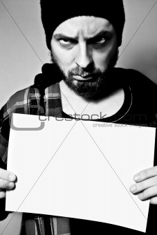 Arrested man holding a blank sheet