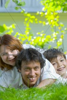 three  on grass
