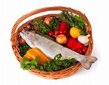 Foodbasket with fresh trout